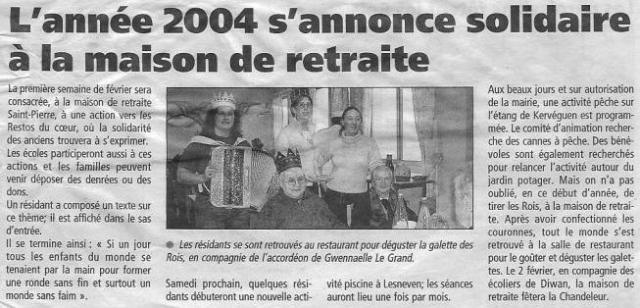 Plabennec - L'année 2004 s'annonce solidaire à la maison de retraite (jan 2004) gwennaelle le grand