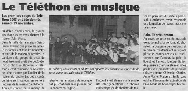 Plabennec - Le téléthon en musique (dec 2003) gwennaelle le grand